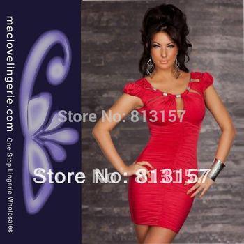 Fashion Red Mini Club Dress ML17639 Free Shipping New Stunnig Cinched Sexy Summer Short Clubwear Women Party Dresses Vestidos
