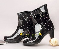 The trend of fashion high-heeled female rainboots women's rain boots female water shoes female overstrung the disassemblability