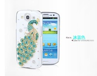 Free Shipping Luxury Peacock Diamond Cover For Samsung I9300 Galaxy SIII S 3 Crystal Bling Case