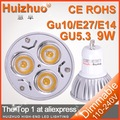 Holiday sale 80X High power CREE GU10 3x3W 9W 110V / 220V Dimmable Light lamp Bulb LED Downlight Led Bulb Warm White Wholesale