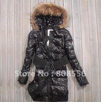 FREE SHIPPING 2013 winter large raccoon  fur collar thickening down coat ladies medium-long jacket outwear down dress