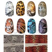 12 Designs Dragon & Leopard Print Nail Art Wraps Full Nail Decals Free Shipping