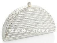 2014 Fashion Crystal Clutch Bag Silver Diamond Crystal Evening Purse Luxury  swarovski bag S08133