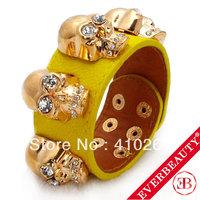 On Sale! EB 2013 New Fashion Gold Plated big skull with rhinestone PU leather Bracelet Bangels for Men & Women Free shipping