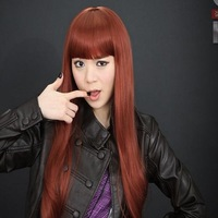 Free shipping!,Wholesale/Retail,women's kinky burgundy color straight full lace hair wig on sales