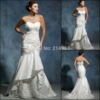 Free Shipping  Newest Fashion Designer Sexy Strapless White Taffeta Bridal Gown Mermaid Wedding Dress 2014