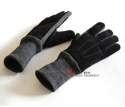 Free Shipping Thermal Liner Wool Yarn Pigskin Gloves Male Gloves Genuine Leather Mittens(China (Mainland))