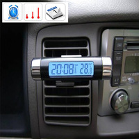 High quality fashion mini backlight car auto vehicle digital thermometer clock time with attachment clip