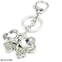 Min. Order is $15 mixed order Free Shipping Diamante Romantic Skull & Rose Designer Key Rings Bag Penadant For Women BC1213