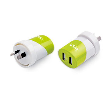 Dual USB Travel Chargers with 2000mA output,suitable  for Smartphone,Game Players,Tablet PC and Mp3,Mp4,  AU Plug