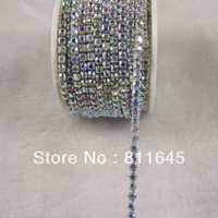 Wholesale Rhinestone cup chain ss12,Densify claw, Crystal AB rhinestone Silver base 10yard/roll fast delivery Free shipping