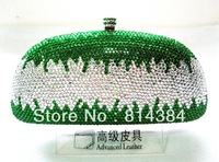Fashion crystal clutch green crystal party bag pu lining metal chain 100% handcraft S0842 Free shipping!