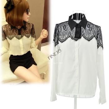 Free Shipping autumn lady small long sleeve chiffon Shirt Blouse Women's black lace shirt 6747