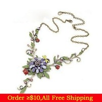 Min Order$10(mix items) Spring Flower Bird Insect Vintage Pastoralism Pendant Choker Collar Necklace