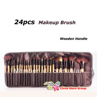 Free shipping 24pcs Real Hair Wood Handle Makeup Brush Set With Leather Bag without LOGO