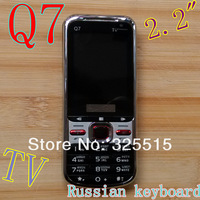 2013 Free  Shipping  HOT Q7 Quad Band Dual SIM phone TV 2.2 inch  Unlocked Mobile Phone  S4 I9500 MINI  5CRussian keyboard