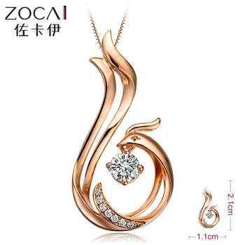 LOVE FOREVER! ZOCAI PATENT 0.08 CT DIAMOND Phoenix Pendant Diamond 18K Rose Gold 925 STERLING SILVER CHAIN Necklace FREE SHPPING
