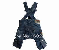2013 New arrival all-matched unisex cool multi bag pants dog clothes summer pet clothes straps Jean pants dog trousers