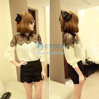 New Fashion Women's Long Sleeve Black Lace Chiffon Shirt Blouse Size S-XXXL 6747