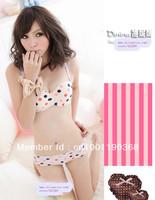 Freeshipping  one piece seamless bra set underwear  three-color polka dot one bra and brief set