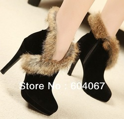 2013 High Heel Full gain cow leather + angola cony hair fasion women shoes for winter boots(China (Mainland))