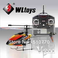 Freeshipping quadcopter kit 2.4G 4CH Single Blade 2 Batteries remote control helicopter Gyro RC V911 helicopter With LCD