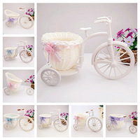 Free shipping 2pcs/lot PE storage rattan tricycle vase artificial flowers wedding decoration living room dining table (FL130014)