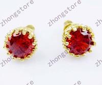Fashion ruby 10KT yellow gold filled Earrings studs gift E005 Zircon earrings