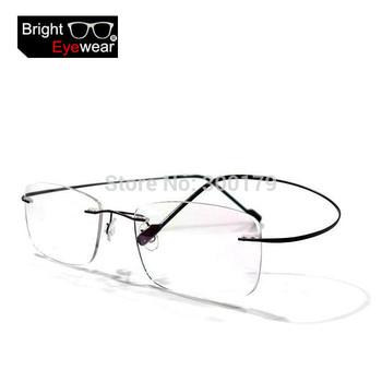 8 colors rimless non-screw memory titanium hingeless flexible eyeglasses glasses prescription rx spectacle optical frame oculos