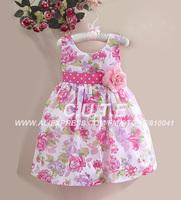 Girl Dresses Kids Dresses For Girls 2014 Formal Dress Flowers Cotton Dress Girls Polka Dots Summer Costumes For Children  Kids