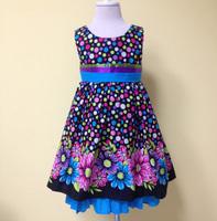 Cotton Girls Dress Summer 2014 Children Polka Dot Flowers Clothes For School Girls Korean Style Tank Dress 2-7 year old Blue