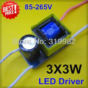 10pcs/lot 3X3W led driver, 3*3W driver, 9W lamp driver, 85-265V input for E27 GU10 E14 LED lamp, high quality and free shipping!