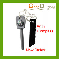 Free Shipping MT08-59B New Striker & Flint Fire Starter with compass Wholesale/Retail