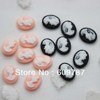 Free shipping Cute Black/Pink Beauty Head Cameo Decoration Resin Nail Art Decorations