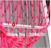 Hot&  colors can be mix polyster fibre romantic love heart door/window curtain,size 200*100cm,wholesale
