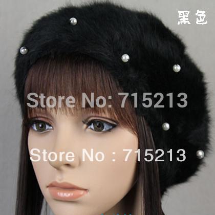 Free shipping 2014 New Bead Pearl Angora blend bud Hat beret painters Cap woman fall/winter hats(China (Mainland))