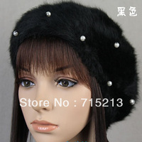 Free shipping 2014 New Bead Pearl Angora blend bud Hat beret painters Cap woman fall/winter hats