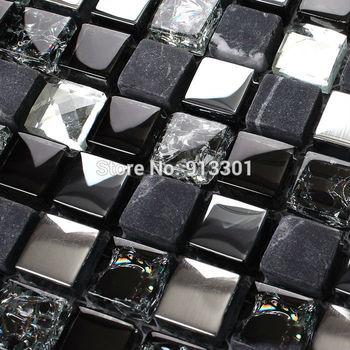 stone glass mosaic kitchen back splash cheap marble floor mirror stainless steel backsplash KMG321 cracked crystal glass tile