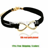 2014 Fashion 18K Gold Plated Infinity Bracelet Bangle Jewelry Charm Leather Bracelets For Women Wholesale