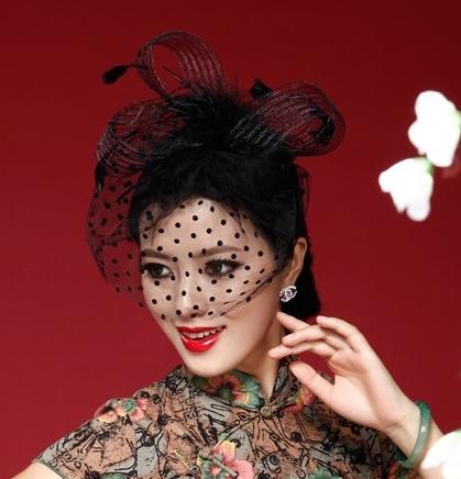 Vintage Fascinator Mini Teardrop Hat With Polka Birdcage Veil Black Feather Ribbon Party Headdress Fixed by Hairgrip WIGO0033(China (Mainland))