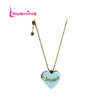 Fashion Christmas Gift Lovely Pink Enamel Box Openable Heart Pendant Necklace
