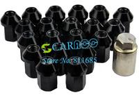 20PCS Black P:1.5, L:35mm Aluminum Car Wheel Closed End Lug Nuts Free Shipping 8346