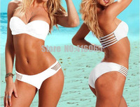 Free Shipping 2 PCS Bikini Set Push Up Padded Beachwear  Women's Bathing Suit Swimsuit Bandeau Removable Strappy White Swimmers