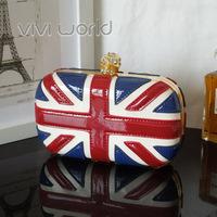 Free Shipping, Famous designer handbag, UK Flag punk skull rhinestone shellac PU clutch purse/ evening bags/ party bags/ bolsas
