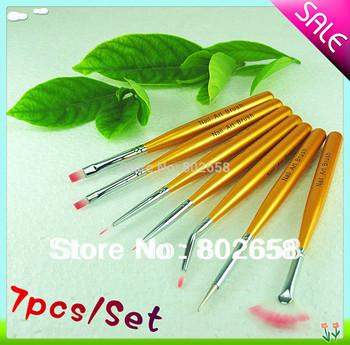 10set/LOTGold Nail Art Tips Gel Design Drawing Painting Pen Polish Brush Set kit