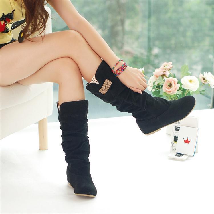 Hot Sale autumn winter woolen lady snow boots,sexy black orange brown women boots 34-43 EU size(China (Mainland))