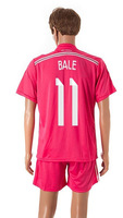 2014 2015 Real Madrid away pink #11 BALE jerseys soccer thailand quality sports kits Fashion football uniforms Free Shipping