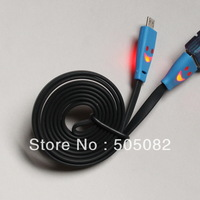 black new High quality Hot Noodles Flat LED Light Smile Face Micro USB Data Sync Charger Cable For Samsung HTC... free shipping