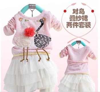 Children girls sets long sleeve t shirt + children tutu dress swan design beautiful
