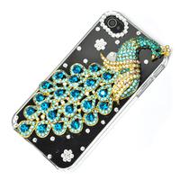 Dark green Peacock Handmade Bling Diamond Crystal Case Cover For Apple iphone 4 4S